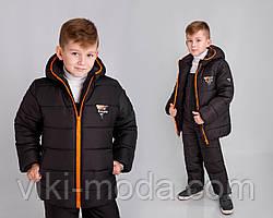 """Зимова, тепла куртка для хлопчика """"Стів"""" колір чорний. Розміри: 104"""
