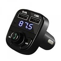 Автомобильный ФМ Bluetooth модулятор FM трансмиттер для авто в машину X8 Original 2xUSB