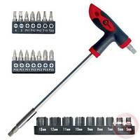 Отвертка Inter Tool  Т-образная + 25 насадка (HT-0422)