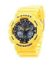 Часы  Casio G-Shock ga-100 Касио Джи Шок Уellow ( желтые) Мужские /Женские (чоловiчi, жіночі) Наручний годинник часи