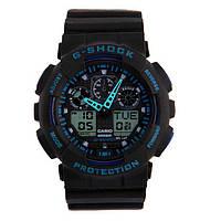 Часы Касио Джи Шок Casio G-Shock ga-100 (черные с синим) Мужские /Женские (чоловiчi, жіночі) Наручний годинник часи