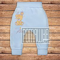 Тёплые детские штанишки р 62 1 2 3 мес наружные швы широкая еврорезинка для новорожденных ФУТЕР 3179 Голубой А