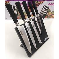 Набор комплект качественных ножей 6 в 1 с магнитной подставкой Benson BN-408 Original кухонные ножи на подставке