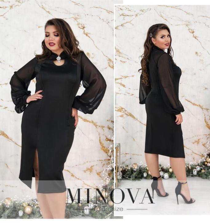 Нарядное платье (черный, серый) батал  Размеры: 50,52,54,56,58,60