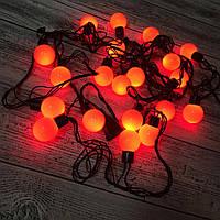 Новогодняя гирлянда -нить светодиодная шарики Led 20 «Радуга» (черный провод, красный), фото 1