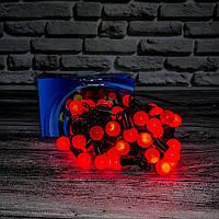 Светодиодная гирлянда «НИТЬ ШАРИКИ» 50 led , (черный кабель, красный)