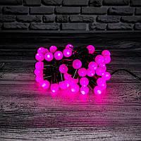 Светодиодная гирлянда «НИТЬ ШАРИКИ» 50 led , (черный кабель, розовый)