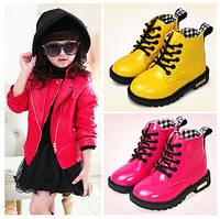 Детские зимние ботинки на меху Стильные ЖЕЛТЫЕ ботинки на девочку Теплые лаковые ботинки д.Мартинс рр 35,36,37