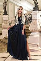 Вечернее длинное платье из шёлка армани и отделка гипюр, юбка с разрезом, застежка змейка (42-48)