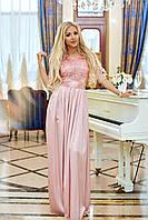 Вечернее длинное платье из шёлка армани и отделка гипюр, юбка с разрезом, застежка змейка (42-48) Пудра