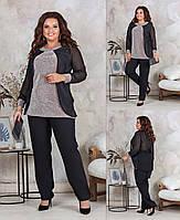 Женский костюм: блуза с брюками из костюмки, трикотажа с люрексом и шифоновой накидкой, длинный рукав (48-58)