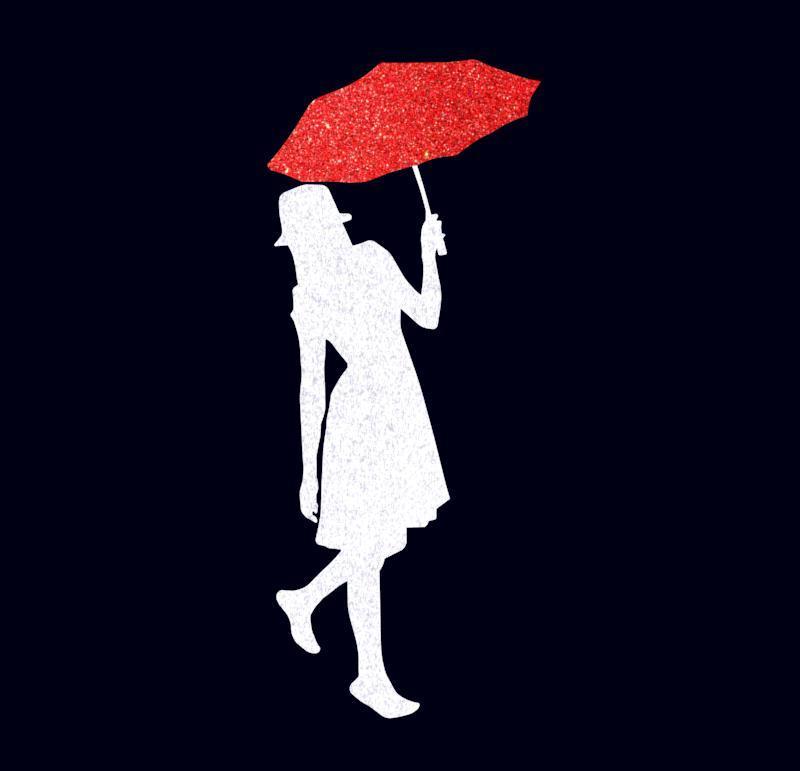 Топпер силуэт девушки с красным зонтиком, девушка с зонтиком на торт, девушка украшение для торта