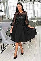 Нарядное платье-клёш из крепа + дорогой гипюр, накидка из гипюра, рукава клёш и пояс  (46-54) Чёрный, фото 1