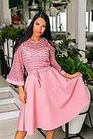 Нарядное платье-клёш из крепа + дорогой гипюр, накидка из гипюра, рукава клёш и пояс  (46-54) Пудра, фото 1