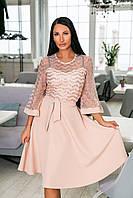 Нарядное платье-клёш из крепа + дорогой гипюр, накидка из гипюра, рукава клёш и пояс  (46-54) Бежевый, фото 1