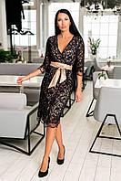 Нарядное платье из дорогого вышитого кружева + атласная подкладка + кожаный пояс, глубокое декольте  (46-54) Чёрный, фото 1