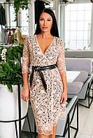 Нарядное платье из дорогого вышитого кружева + атласная подкладка + кожаный пояс, глубокое декольте  (46-54) Бежевый, фото 1