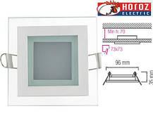 Светодиодный встраиваемый квадратный светильник стекло 6W 6400K Maria-6 Horoz Electric, фото 3