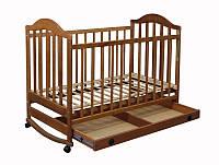 """Кроватка детская для новорожденных с ящиком """"Наполеон"""" тонированная"""