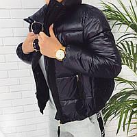 Жіноча коротка куртка на холофайбере з кишенями на блискавці з високим коміром (42-46) Чорний, фото 1