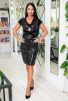 Нарядное вечернее платье из бархата + пайетка на королевском бархате + сетка, короткий рукав (46-50) Чёрный, фото 1