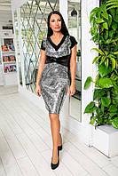 Нарядное вечернее платье из бархата + пайетка на королевском бархате + сетка, короткий рукав (46-50) черный и серебро, фото 1