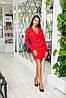 Класичне плаття-піджак з крепу з гудзиками і довгим рукавом (46-52) Червоний