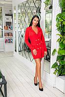 Класичне плаття-піджак з крепу з гудзиками і довгим рукавом (46-52) Червоний, фото 1