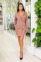 Классическое платье-пиджак из крепа с пуговицами и длинным рукавом (46-52) Капучино, фото 1