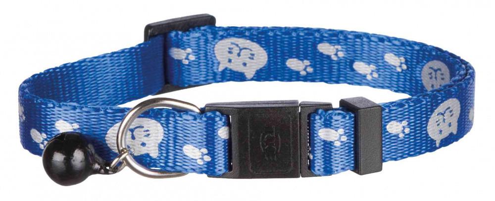 Ошейник для котов кошек светоотражающие лапки с колокольчиком синий