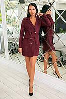 Классическое короткое платье-пиджак из микровельвета с пуговицами и длинным рукавом (46-52), фото 1