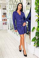 Классическое короткое платье-пиджак из микровельвета с пуговицами и длинным рукавом (46-52) Синий, фото 1