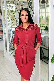 Платье классическое из тиара + гипюр, рукав с подкатом,  пуговицы и пояс (48-54) Бордо