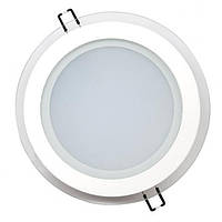 Светодиодный встраиваемый светильник круг стекло 15W 6400K Clara-15 Horoz Electric HL689LG