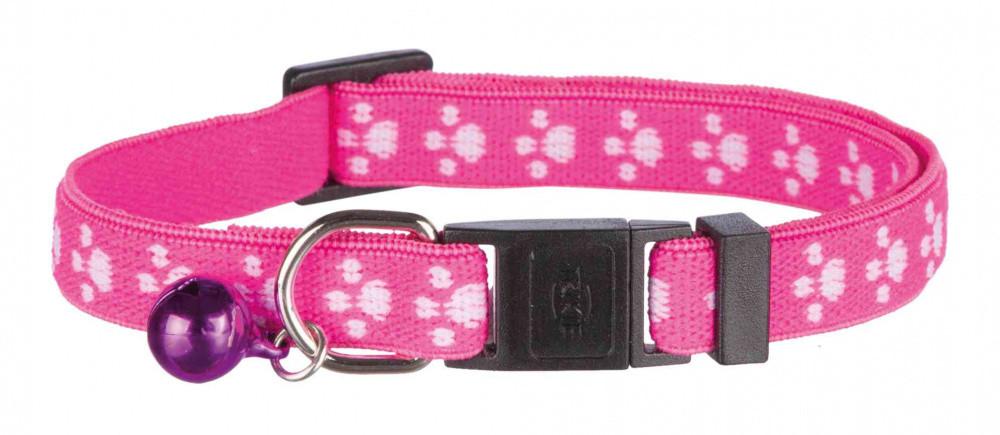 Ошейник для котов кошек с колокольчиком эластичный розовый