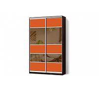 Шкаф-купе MatroLuxe с комбинированными фасадами Цветные стекла+Тонированные зеркала двухдверный Классик