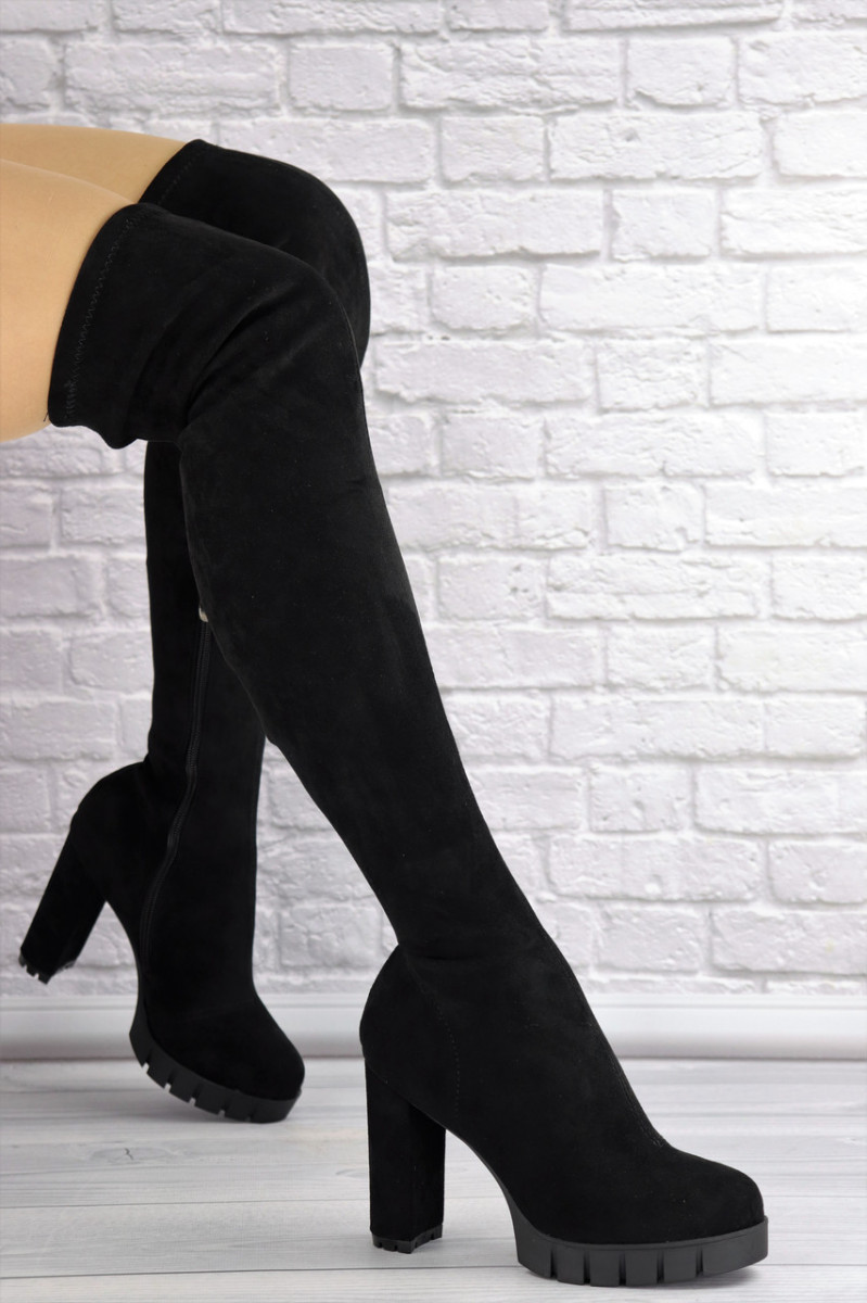 Женские ботфорты Ebony черные 1363