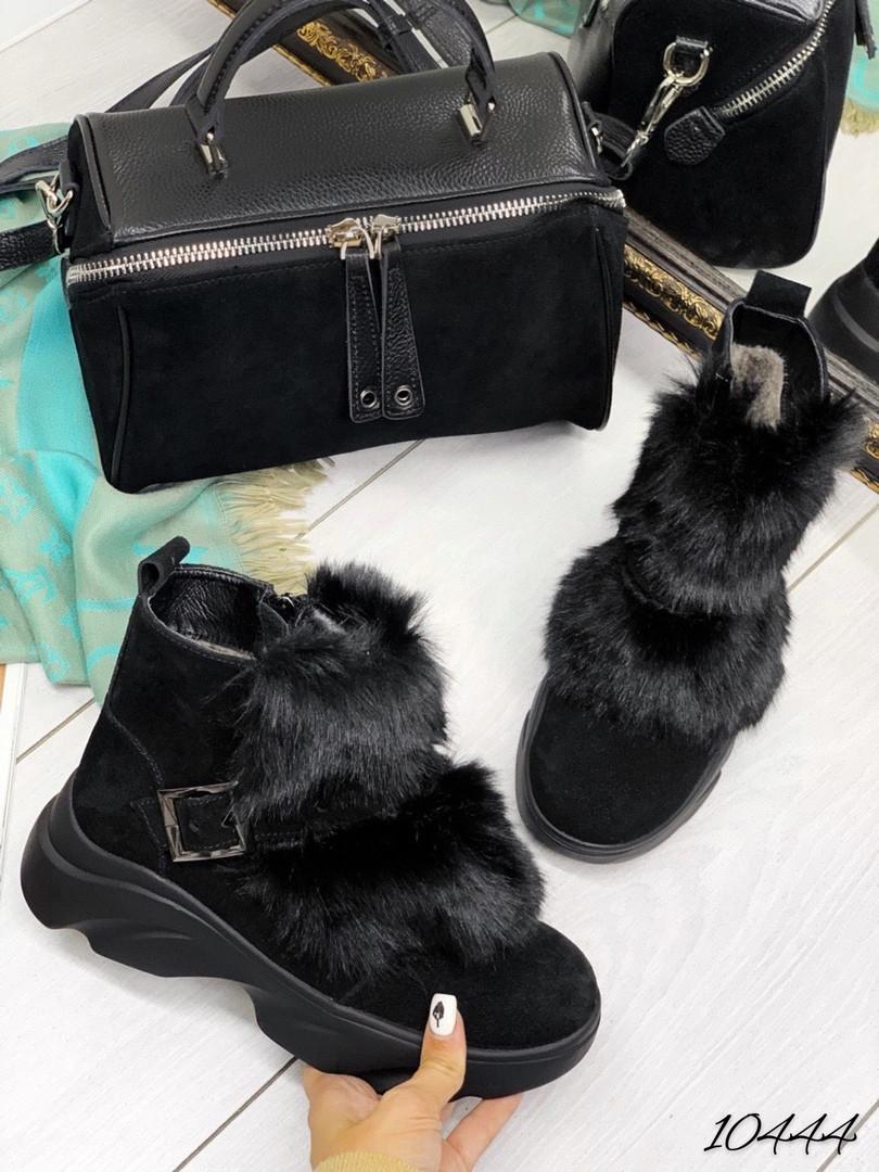 Ботинки зима с мехом подошва волна натуральный замш В НАЛИЧИИ И ПОД ЗАКАЗ