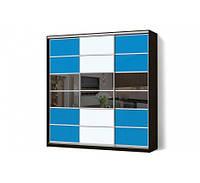 Шкаф-купе MatroLuxe с комбинированными фасадами Цветные стекла+Тонированные зеркала трехдверный Классик