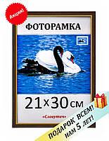 Фоторамка пластиковая А4 21х30, темно-коричневая. Рамка для фото дипломов сертификатов грамот. Код 15-120