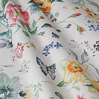 Ткань для штор с крупными бордовыми и желтыми цветами в стиле лофт