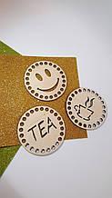 """Деревянное донышко подставка под чашку """"Tea"""""""