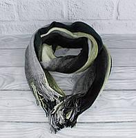 Теплый вязаный шарф, палантин Vlasite 7380-1 зеленый комбинированный унисекс, фото 1
