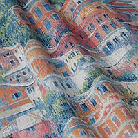Ткань для штор с домами оранжевого и желтого цвета в размытом исполнении Испания