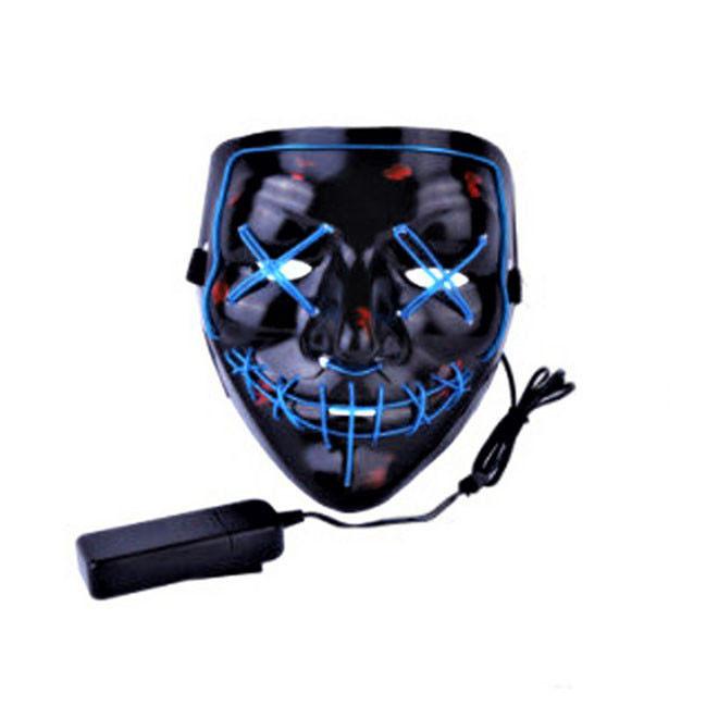 """Светящаяся неоновая LED маска """"Судная ночь""""   Светящаяся маска   Синяя"""