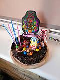 Топпер аніматроніки з написом З днем народження, Топер з принтом аніматроніки, дитячий топпер аніматроніки, фото 2