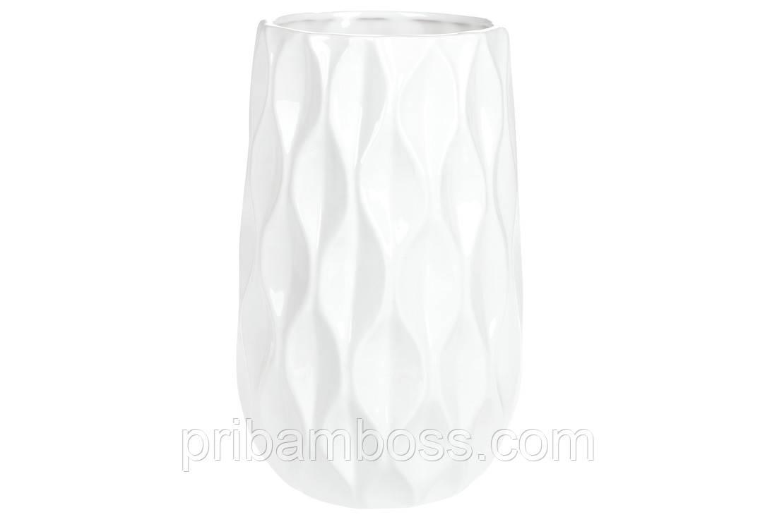 Ваза керамическая с обьемным геометрическим рисунком, 28см, цвет - белый