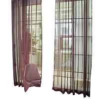 Готовые Шторы комплект для спальни из легкой ткани вуаль коричневая 5 м.