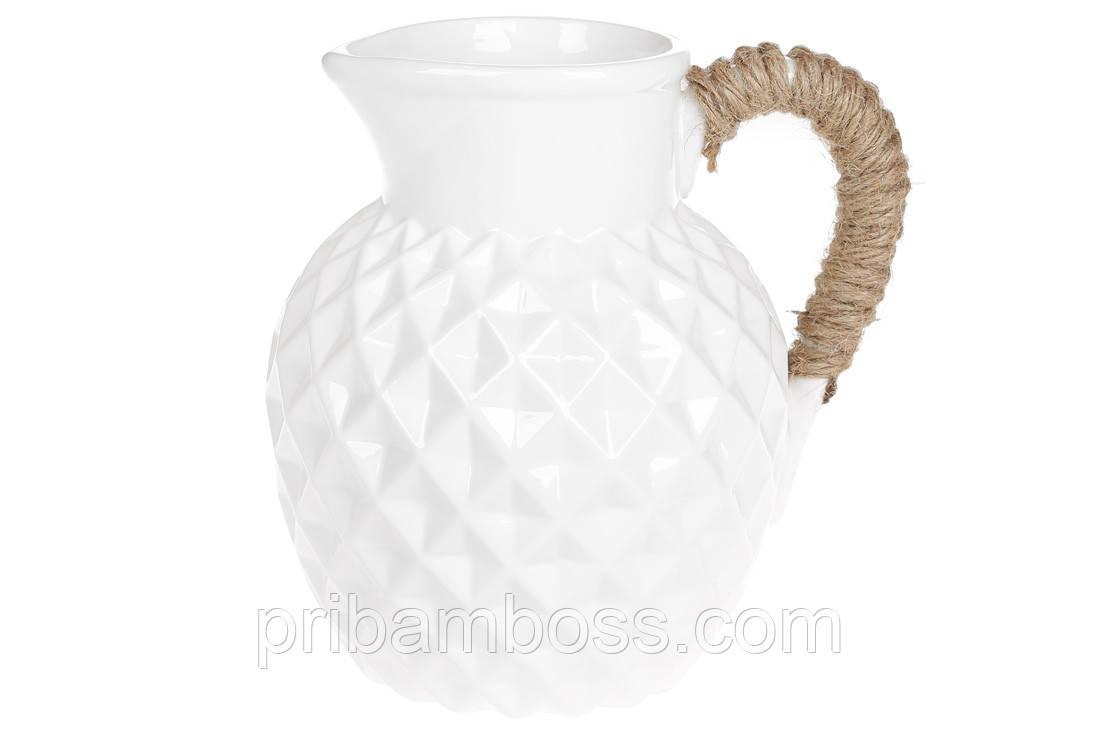 Ваза керамическая в форме кувшина с джутовой ручкой, 19см, цвет - белый
