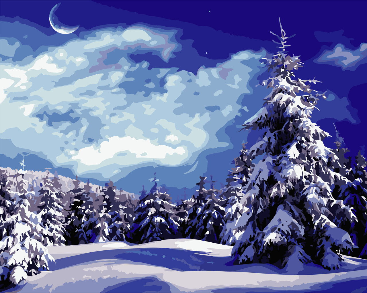 "Картина по номерам ""Красивая зима"" 40*50см"